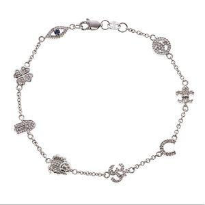 Lucky charms sterling diamond sapphire bracelet